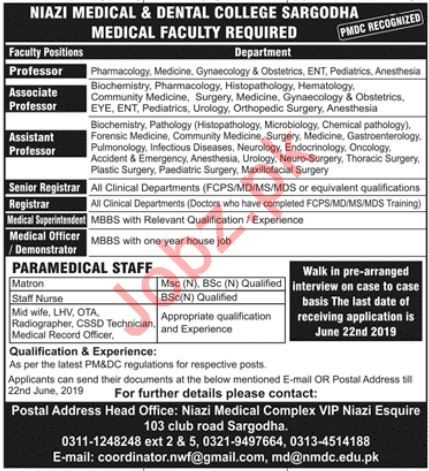 Niazi Medical & Dental College Medical Faculty Jobs 2019