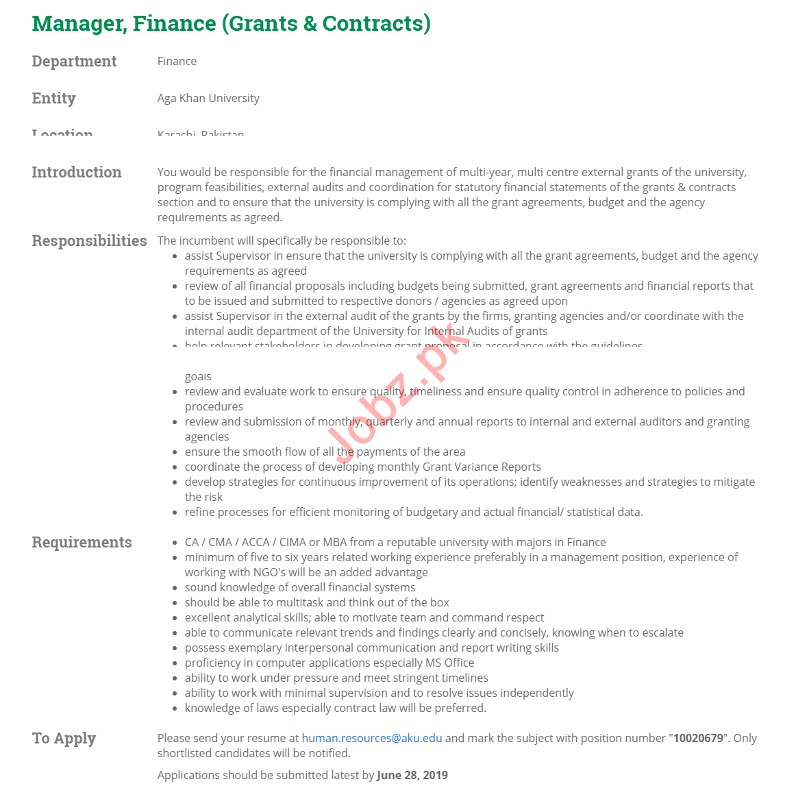 Manager Finance & Manager Grants Jobs 2019