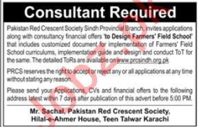 Pakistan Red Crescent Society PRCS NGO Job For Consultant