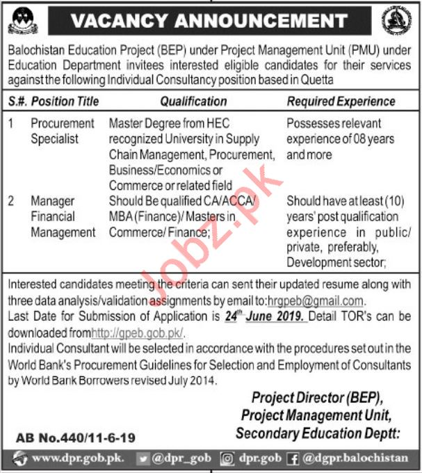 Balochistan Education Project Jobs 2019 in Quetta