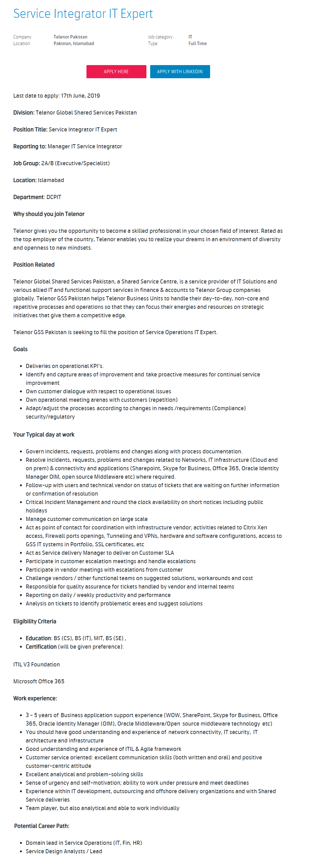 Telenor Pakistan Jobs for Service Integrator IT Expert