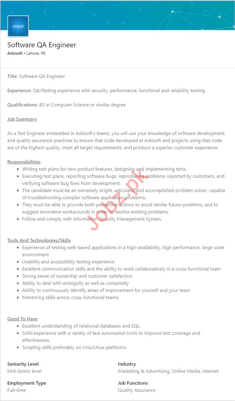 Arbisoft Lahore Jobs 2019 for Software QA Engineer