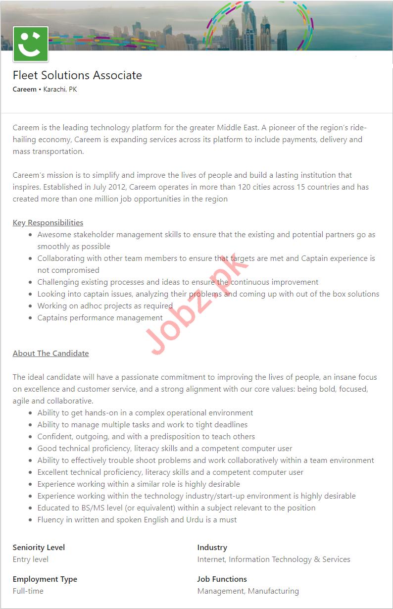Careem Karachi Jobs for Fleet Solutions Associate