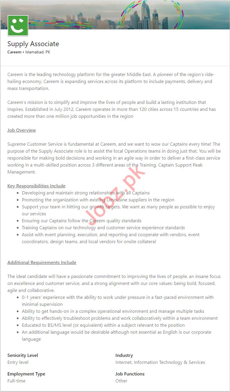 Careem Islamabad Jobs 2019 for Supply Associate