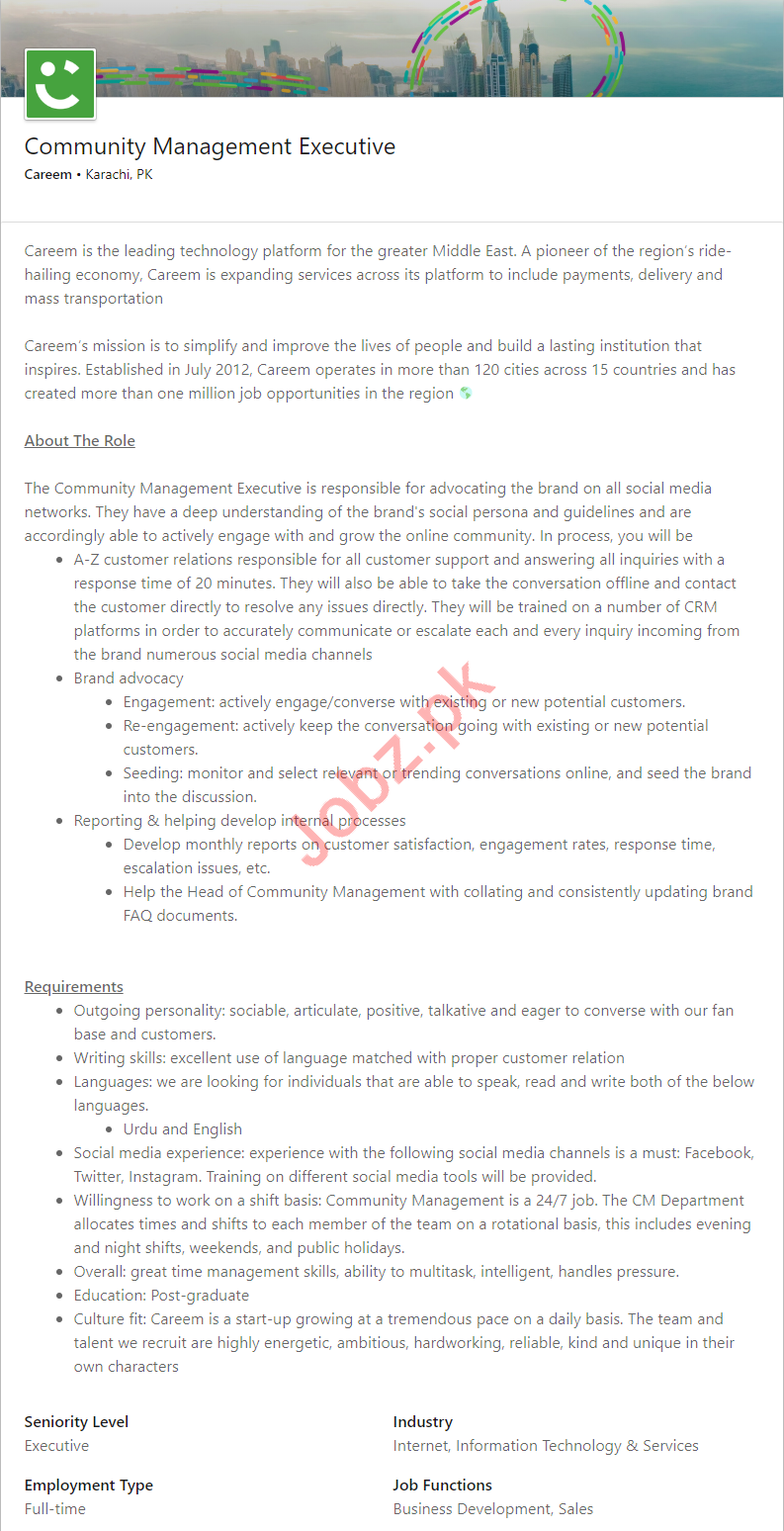 Community Management Executive Jobs in Careem