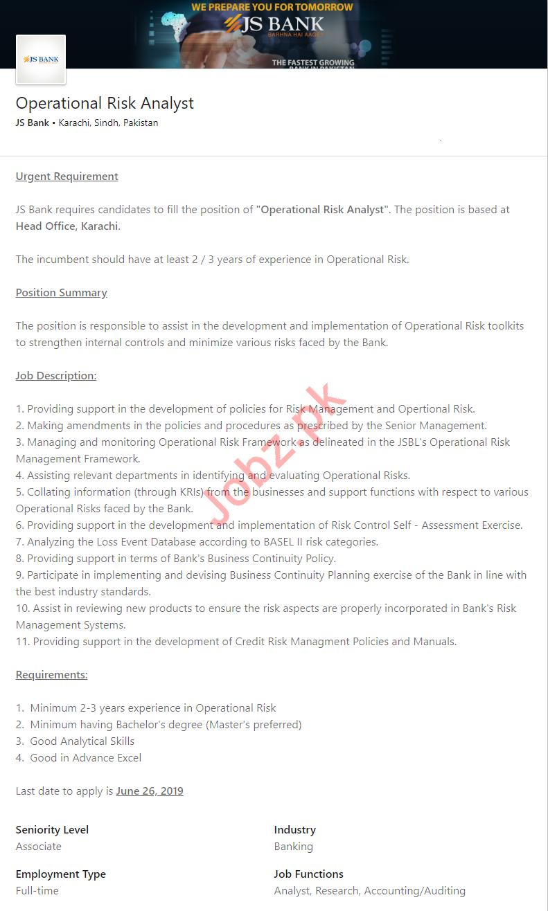 JS Bank Karachi Jobs for Operational Risk Analyst