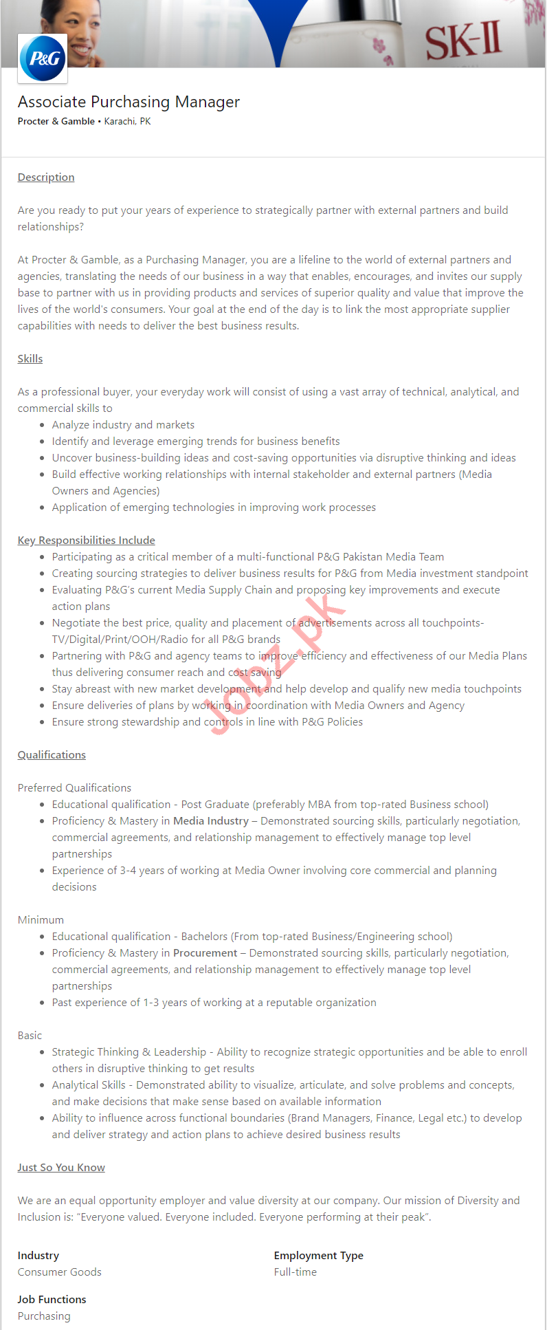 Associate Purchasing Manager Jobs in Procter & Gamble 2019