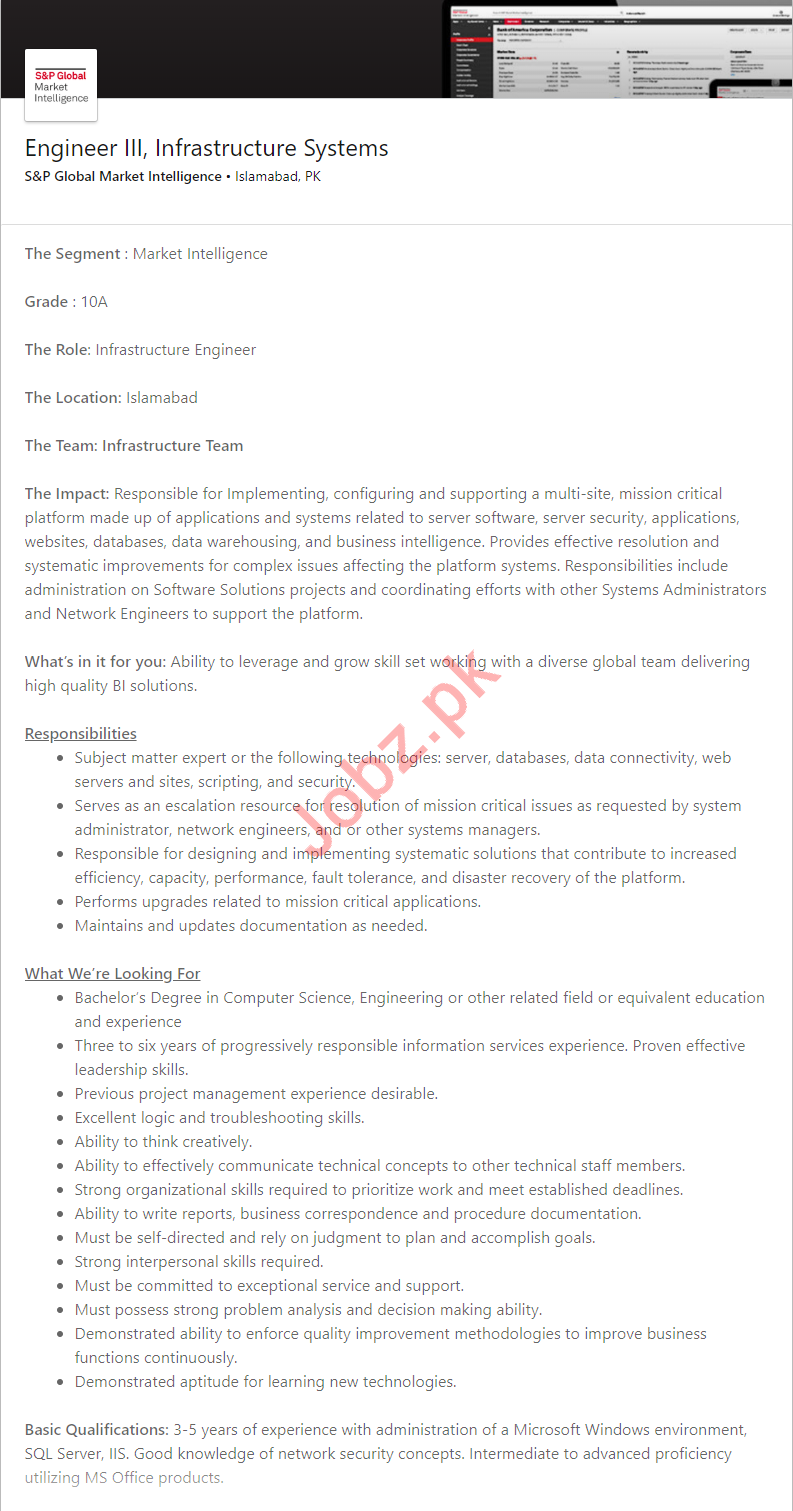 S&P Global Market Intelligence Islamabad Jobs for Engineers