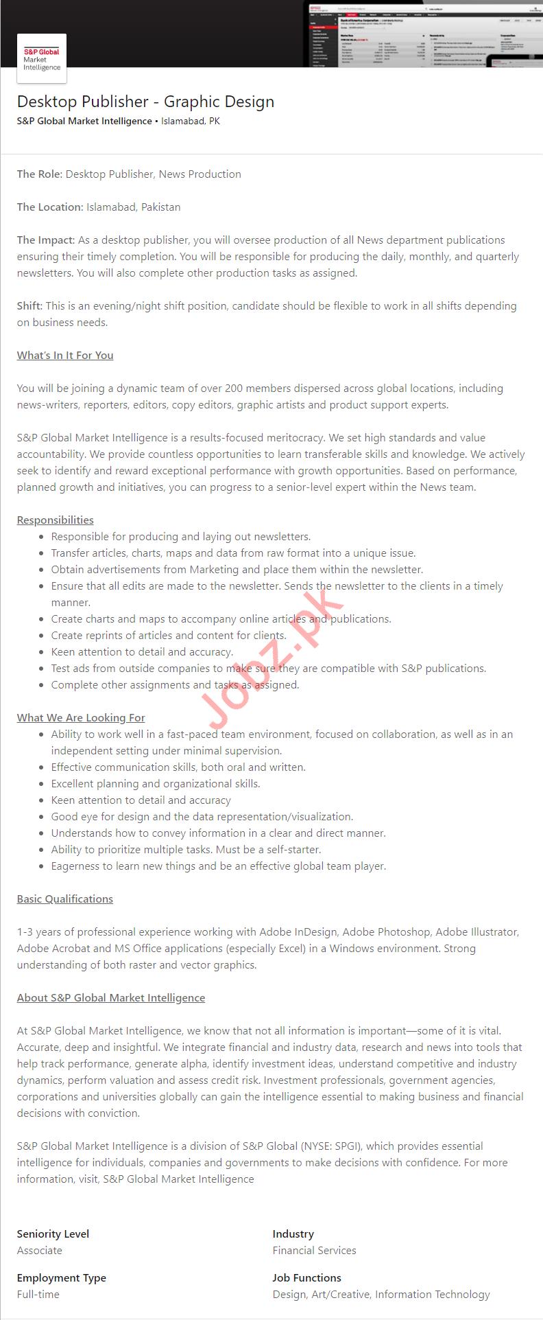 S&P Global Market Islamabad Jobs for Desktop Publisher