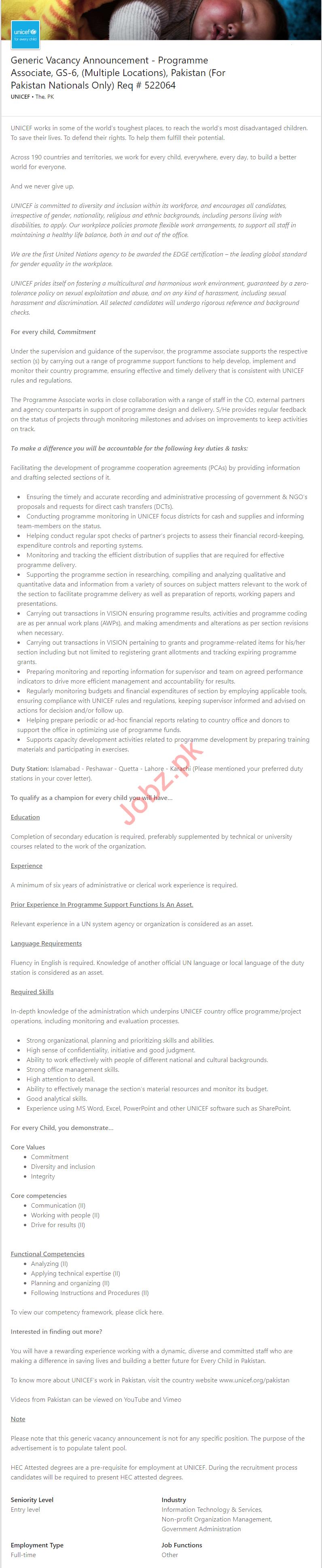 Unicef Pakistan Jobs 2019 for Programme Associate