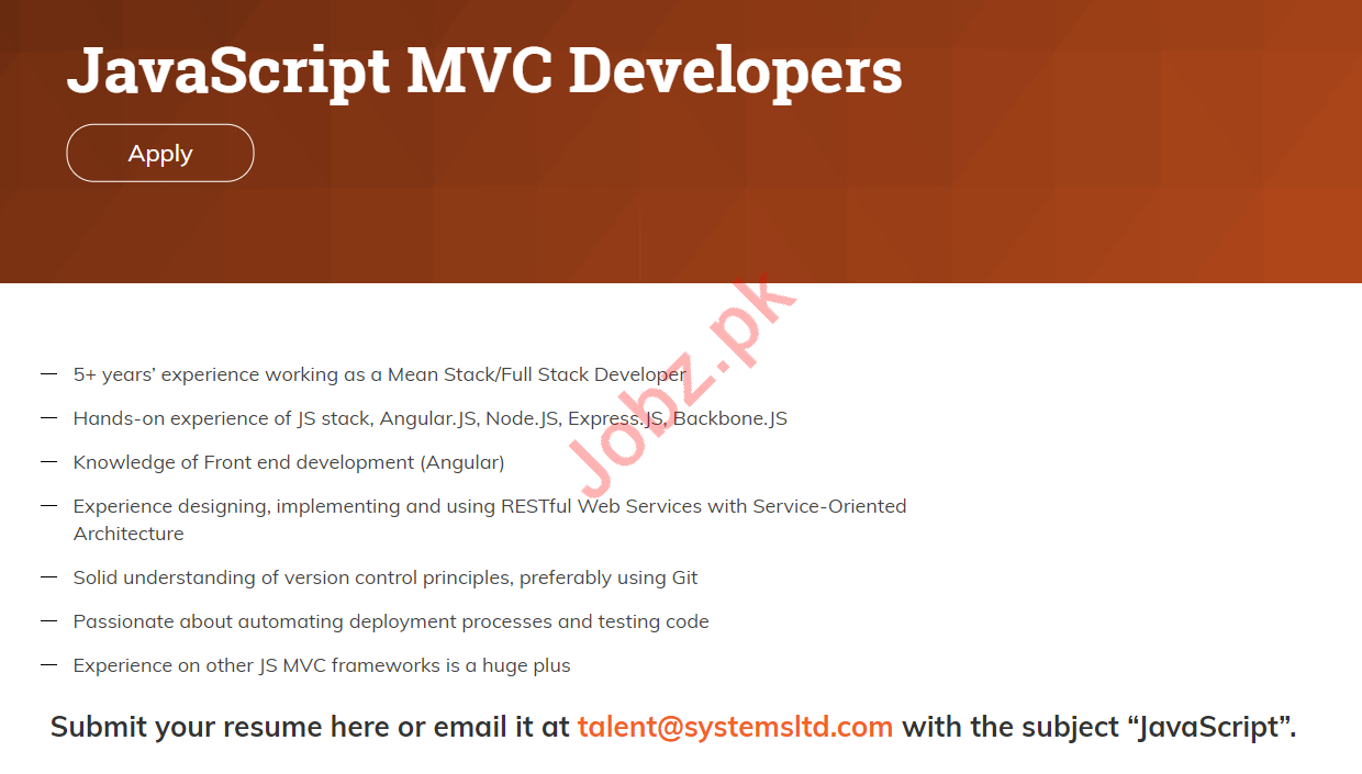 JavaScript MVC Developers Jobs 2019 for System Limited