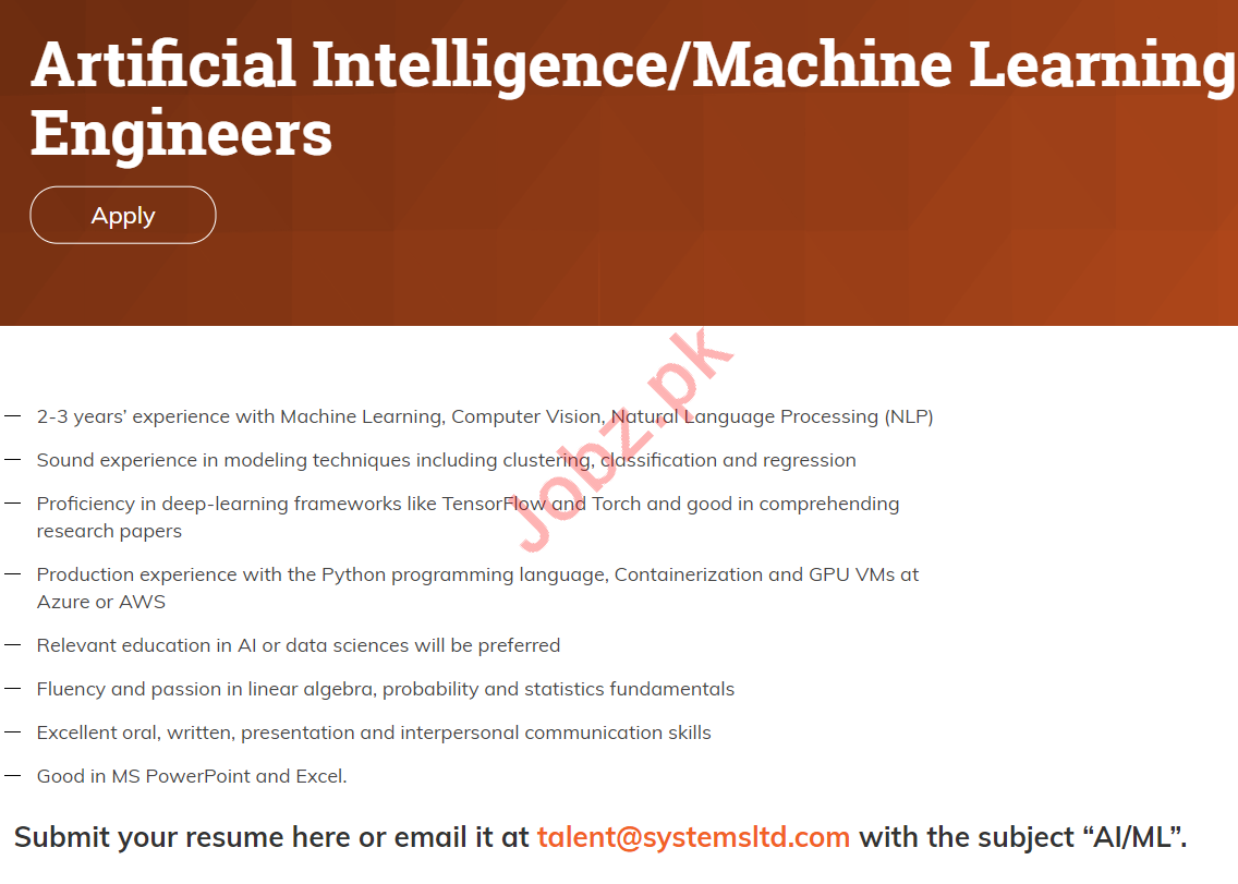 Machine Learning Engineers Jobs in Systems Limited