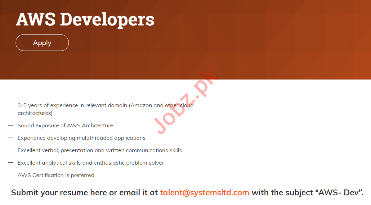 Systems Limited Jobs 2019 for AWS Developers