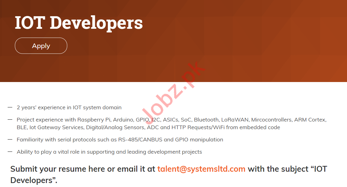 IOT Developer Jobs 2019 in Systems Limited