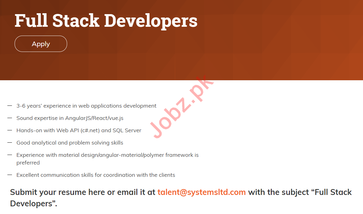 Full Stack Developers Jobs in Systems Limited