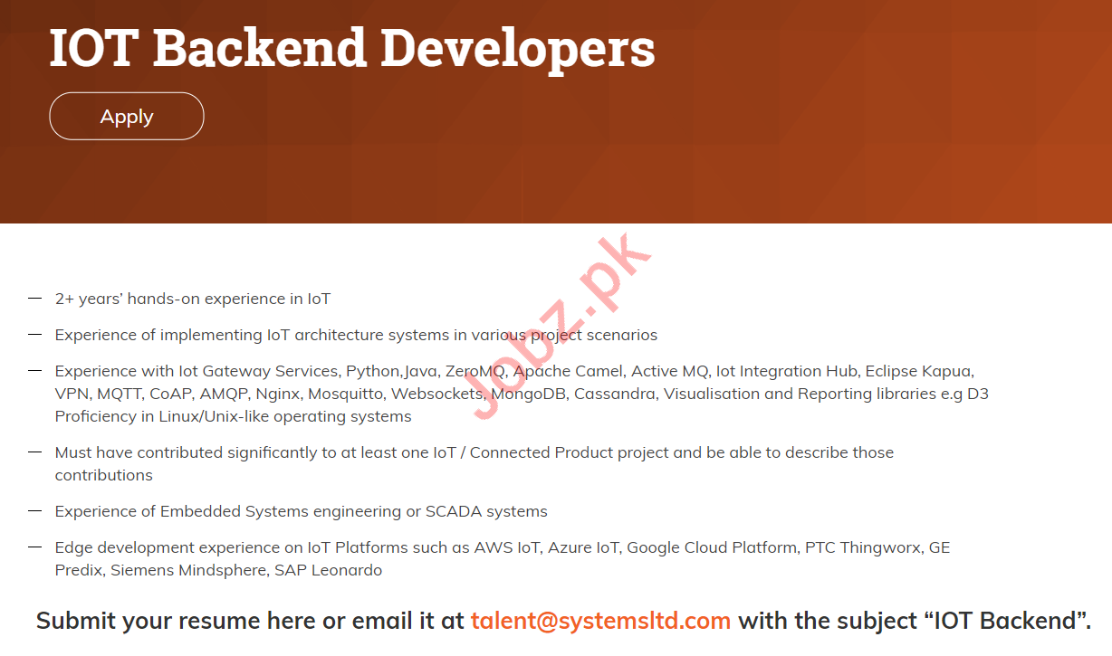 IOT Backend Developers Jobs 2019 for Systems Limited