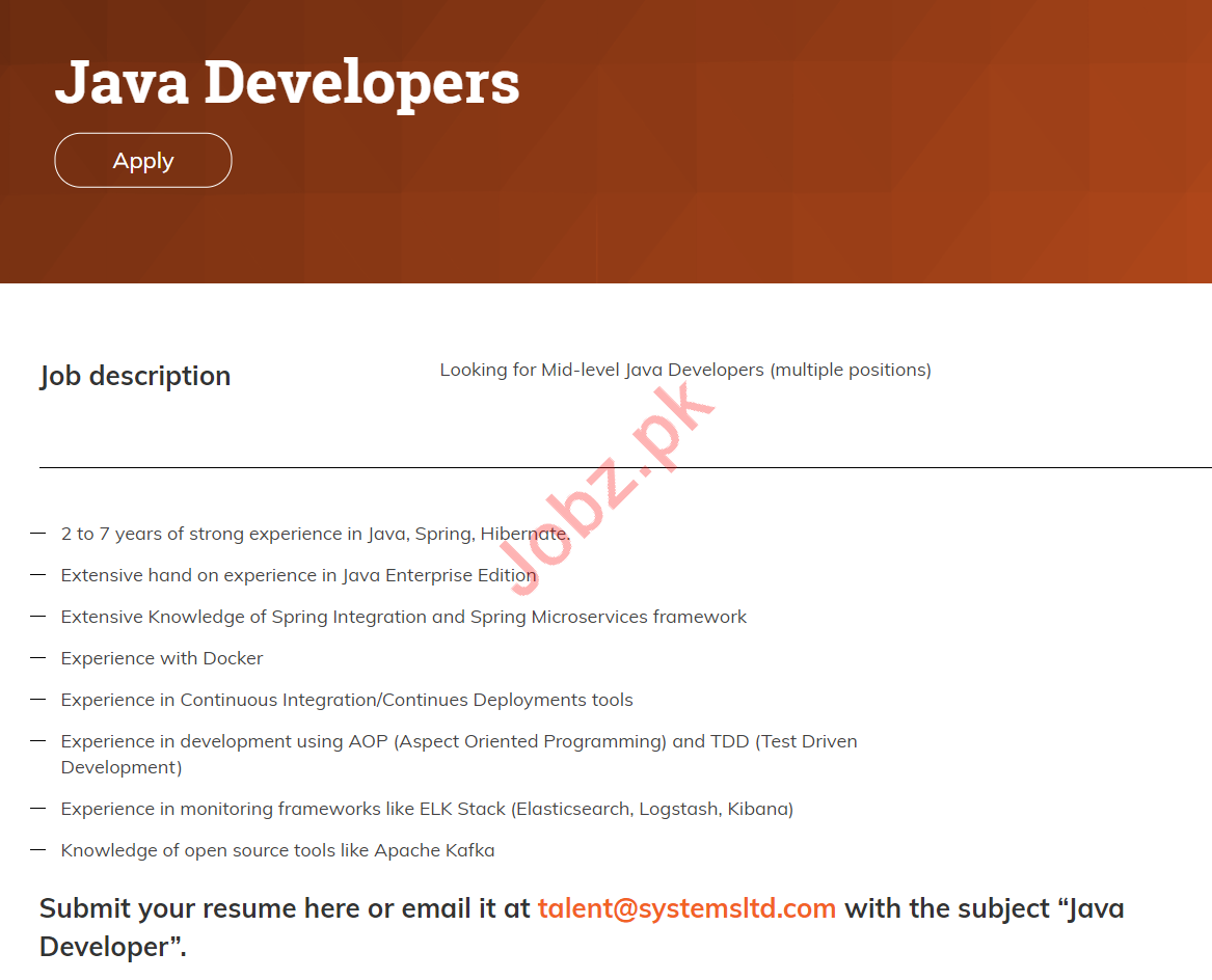 Systems Limited Lahore Jobs for Java Developers