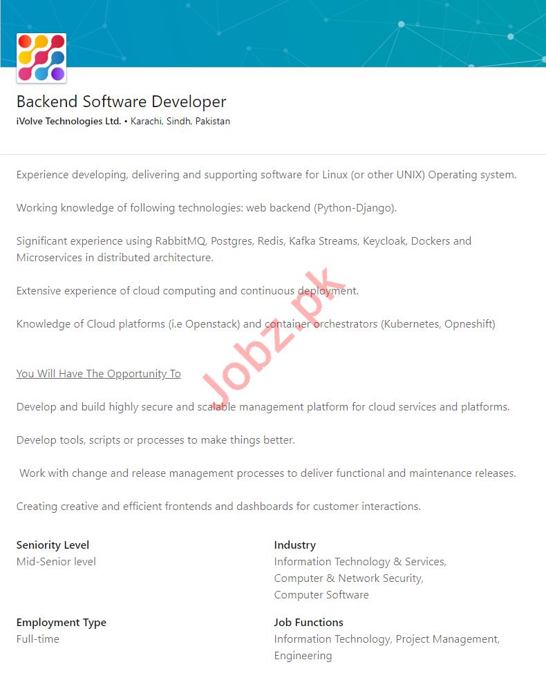 iVolve Technologies Jobs for Backend Software Developer
