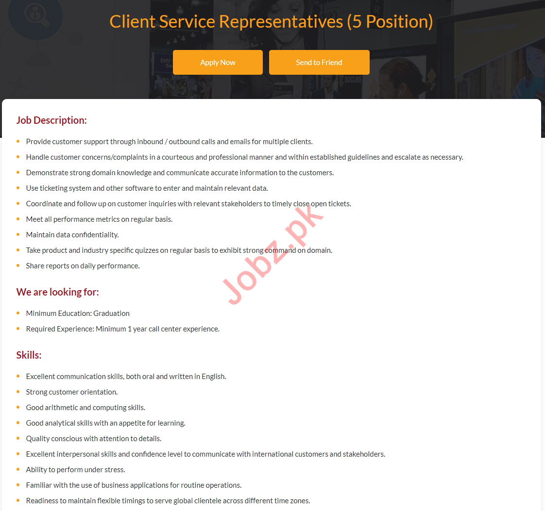 Client Service Representatives Jobs 2019