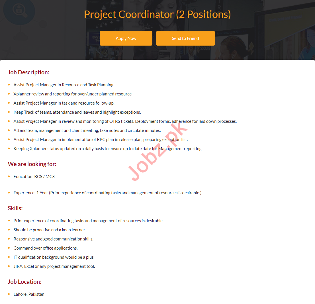 Project Coordinator Jobs 2019 in i2c Pakistan