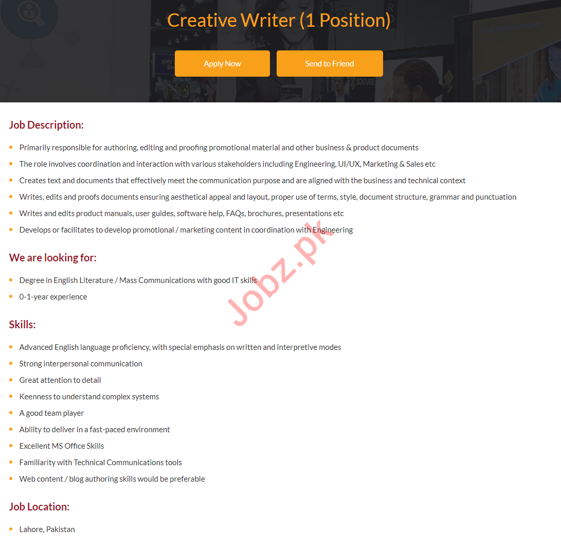 Creative Writer Jobs Career Opportunity