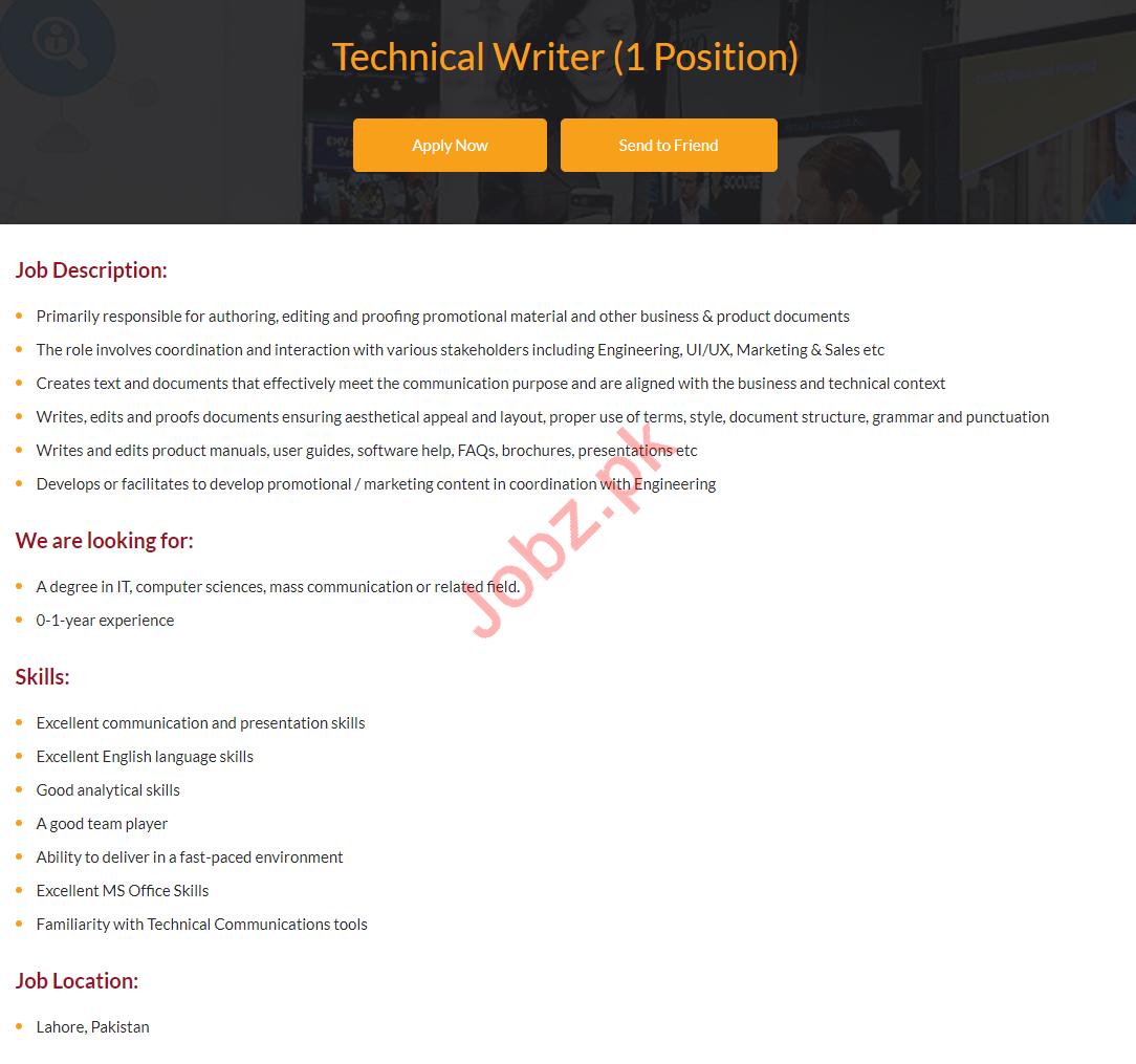 Technical Writer Jobs 2019 in i2c Pakistan
