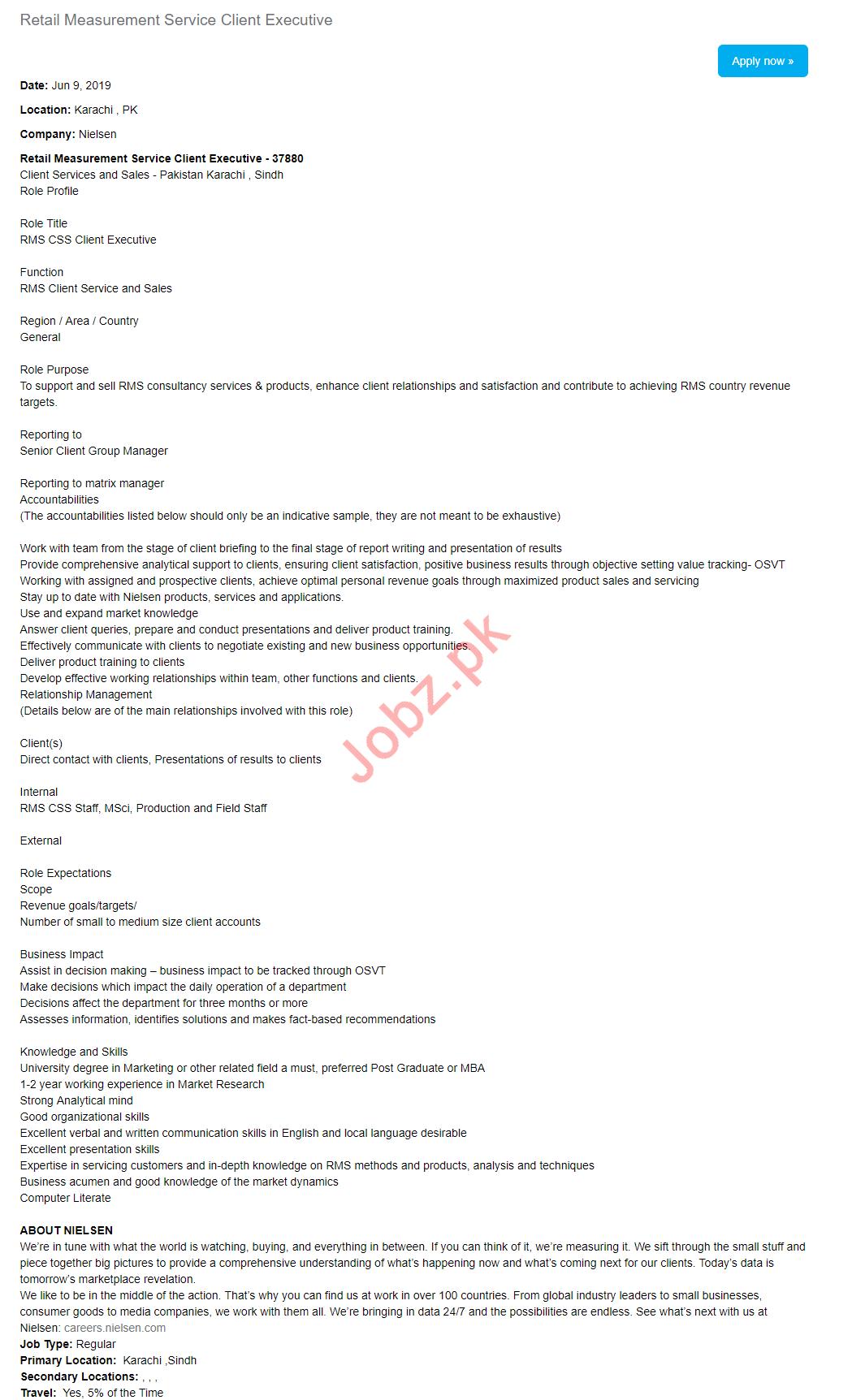 Nielsen Lahore Jobs for Client Executive