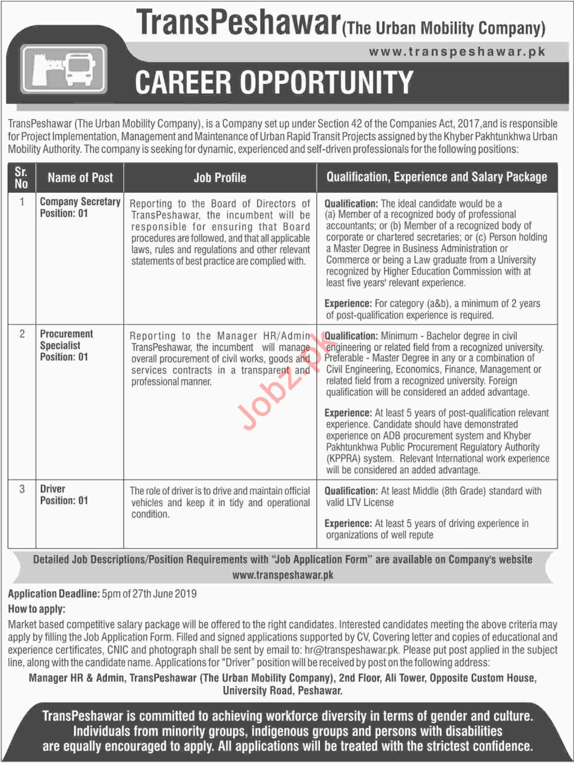 TransPeshawar The Urban Mobility Company Jobs 2019