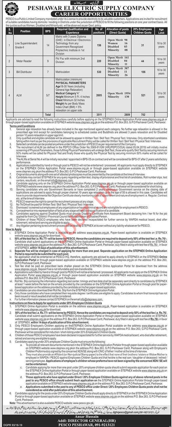 Peshawar Electric Supply Company PESCO Jobs 2019