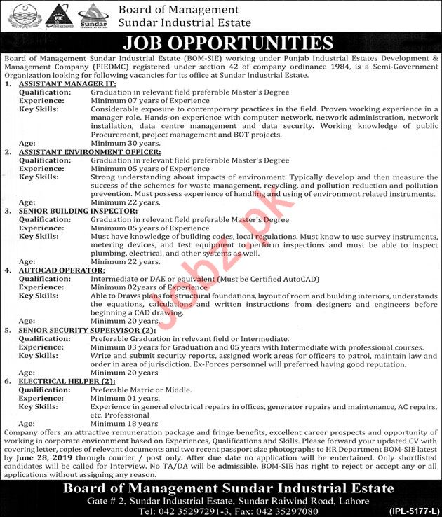 Board Of Management Sunder Industrial Estate Jobs 2019