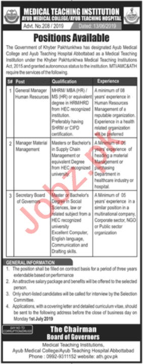 Ayub Medical College Management Jobs 2019