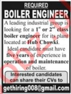 Boiler Engineer Job in Karachi