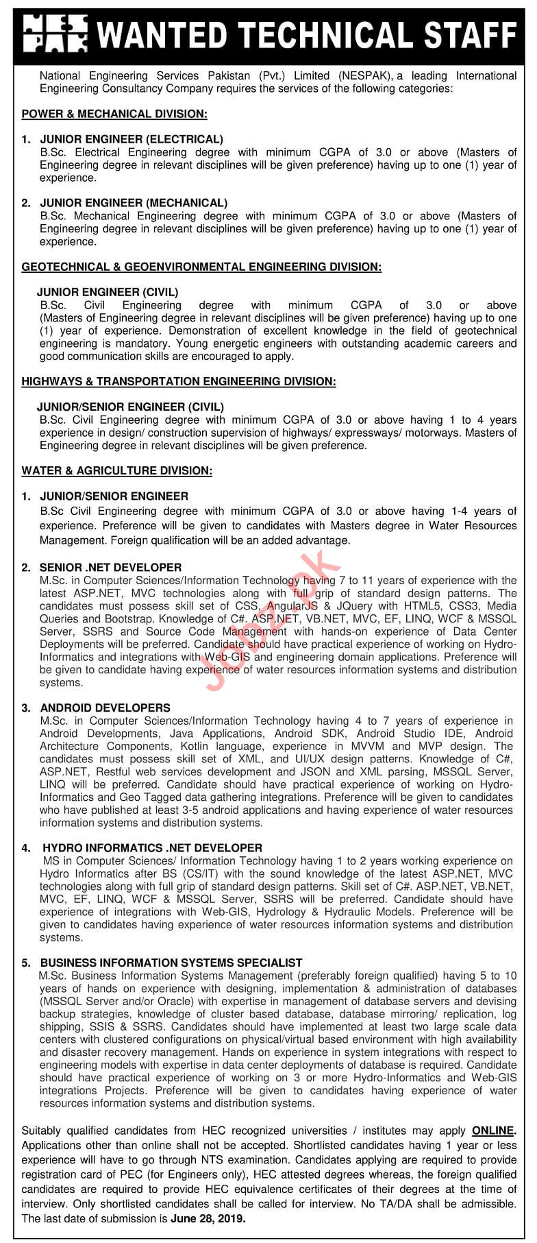 National Engineering Services Pakistan NESPAK Engineers Jobs