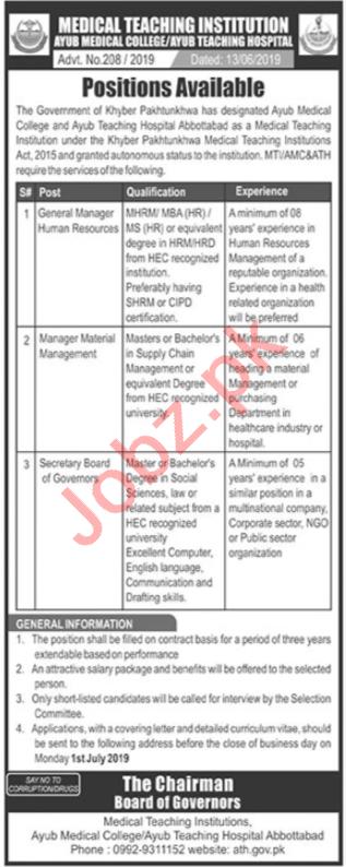 MTI Ayub Teaching Hospital ATH Abbottabad Jobs 2019
