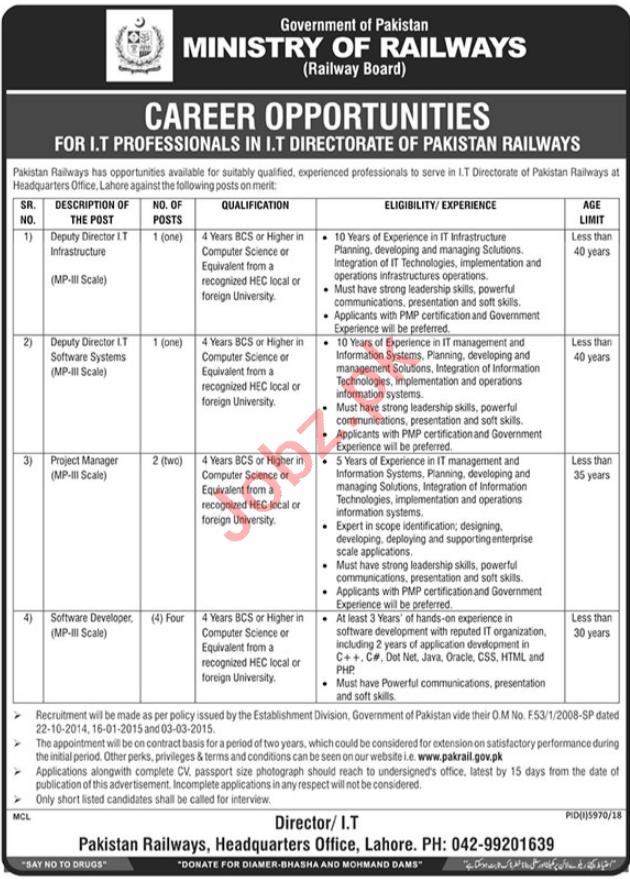 Railway Board Ministry of Railway Lahore Jobs 2019