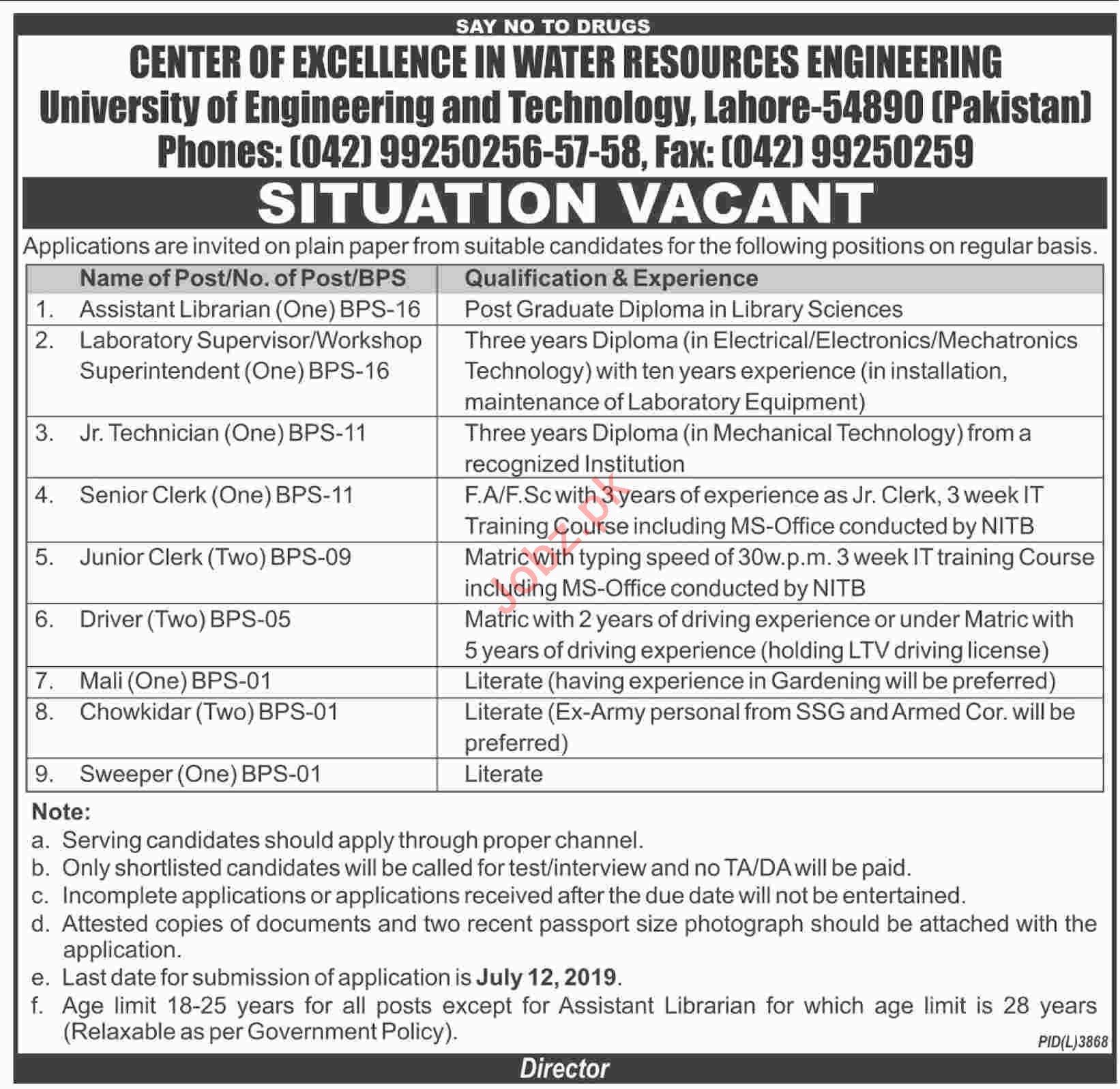 University of Engineering & Technology UET Lahore Jobs 2019