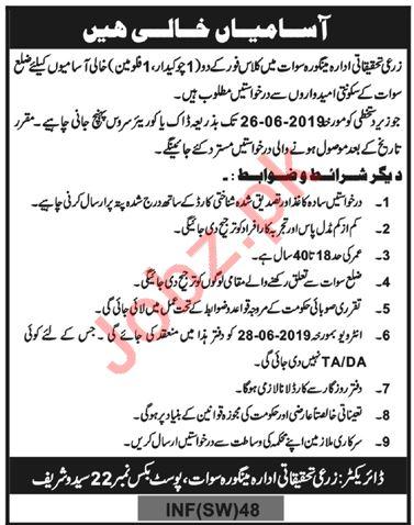 Agriculture Research Institute Mingora Swat Jobs 2019