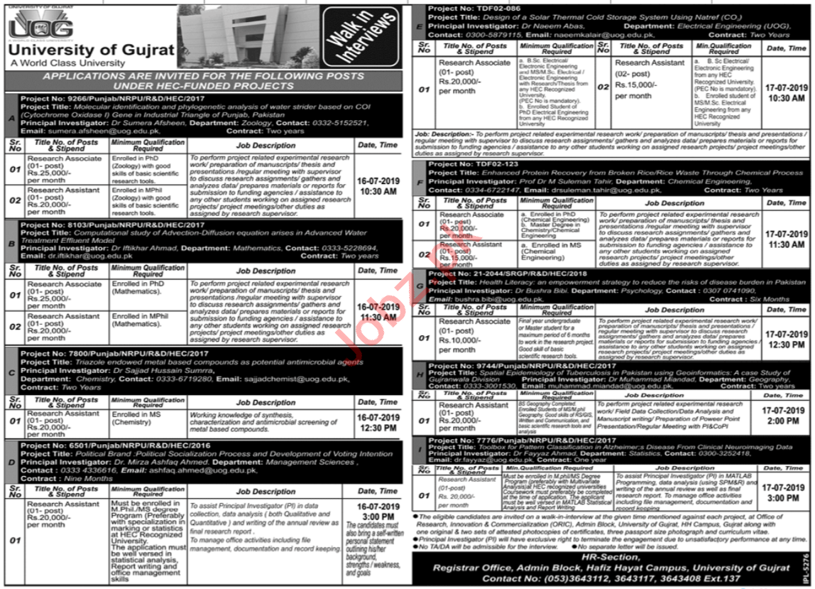 University of Gujrat UOG Jobs 2019 for Research Associate