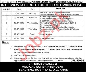 District Headquarter Hospital DHQ D G Khan Jobs 2019