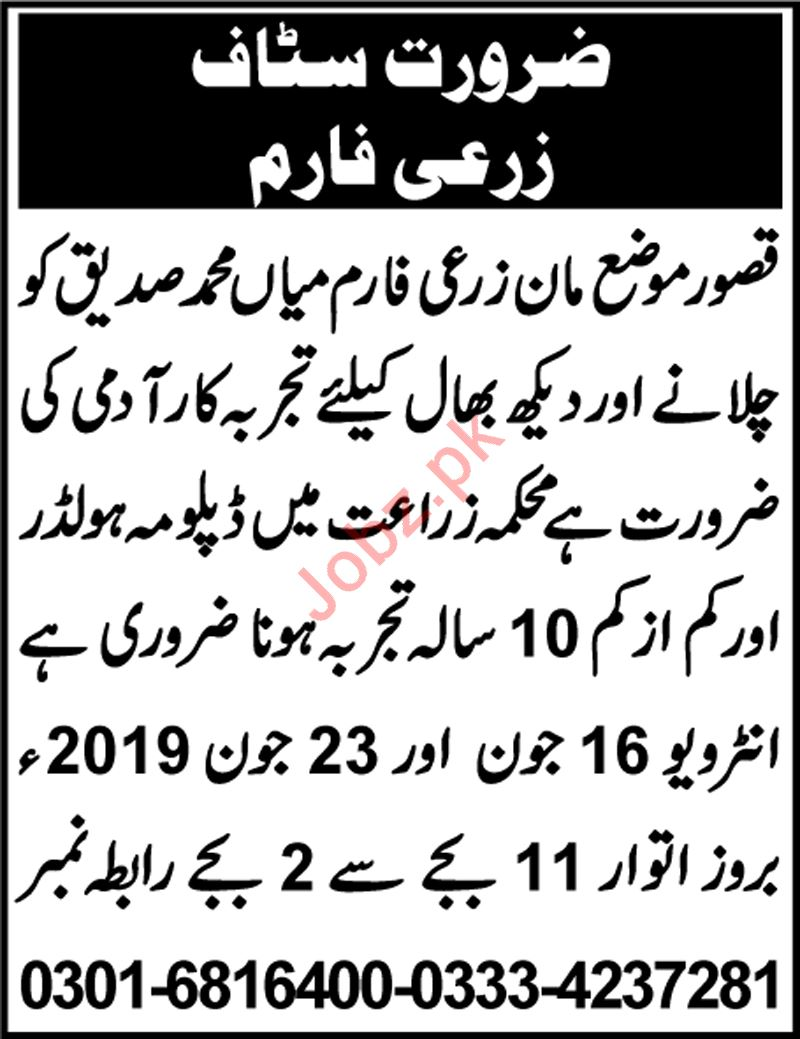 Agriculture Farm Staff Jobs 2019