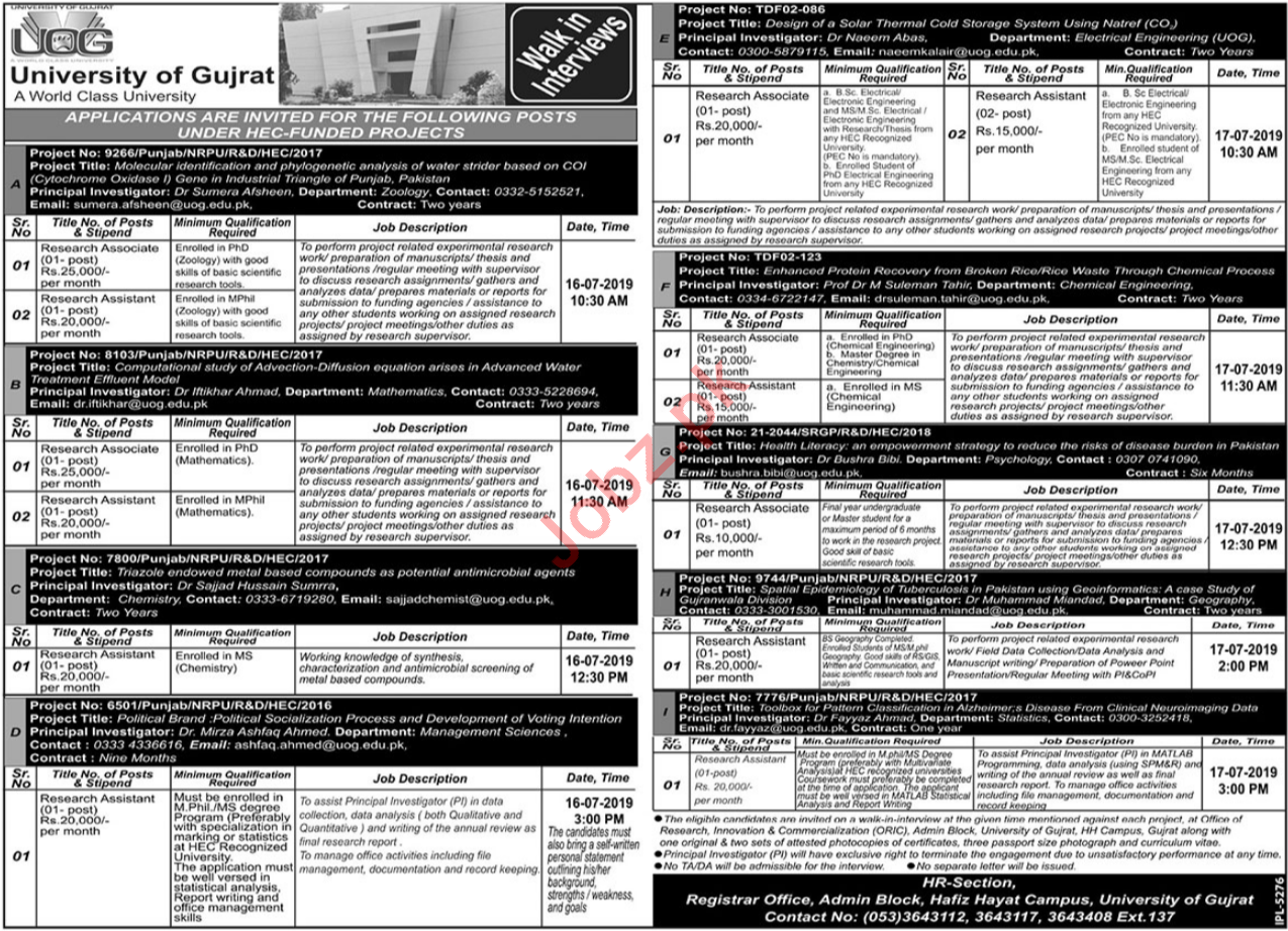 University of Gujrat UOG Jobs 2019 for Research Assistants