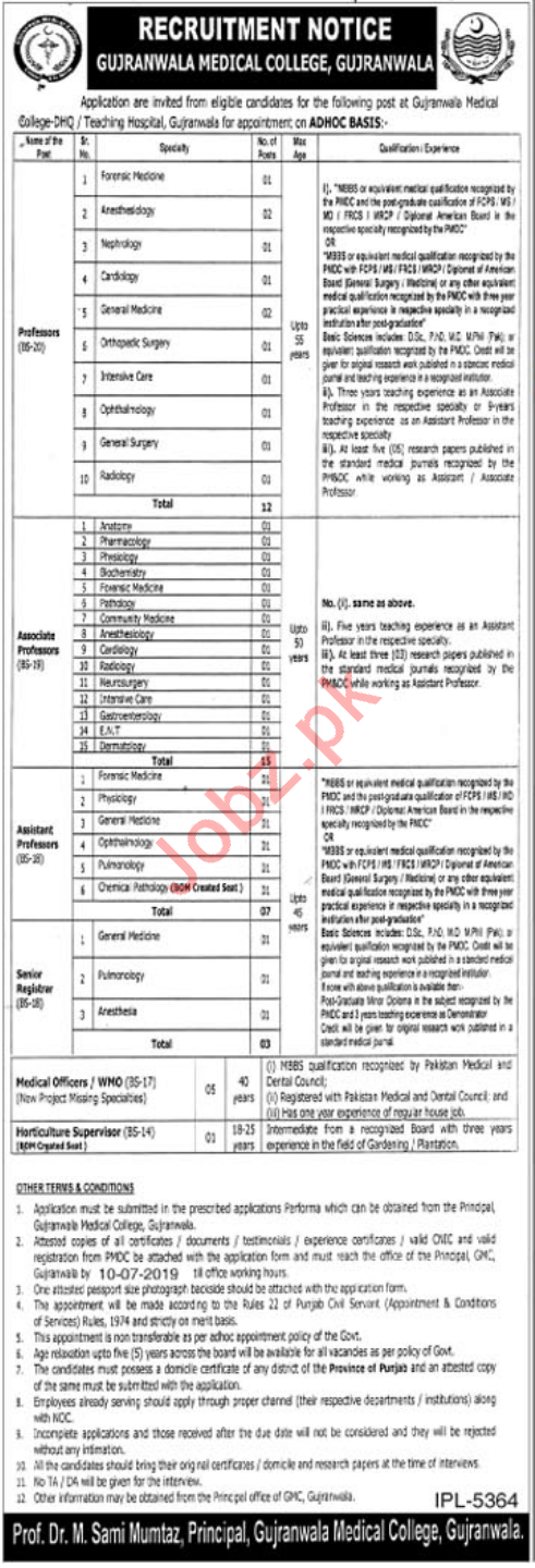 Gujranwala Medical College GMC Jobs 2019 for Professors