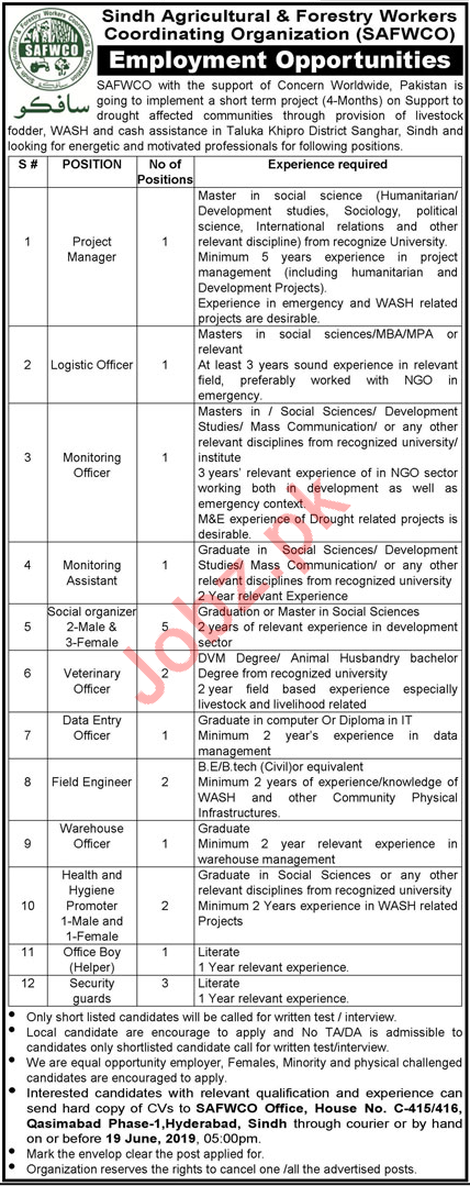 Sindh Agricultural Forestry Workers SAFWCO Jobs 2019