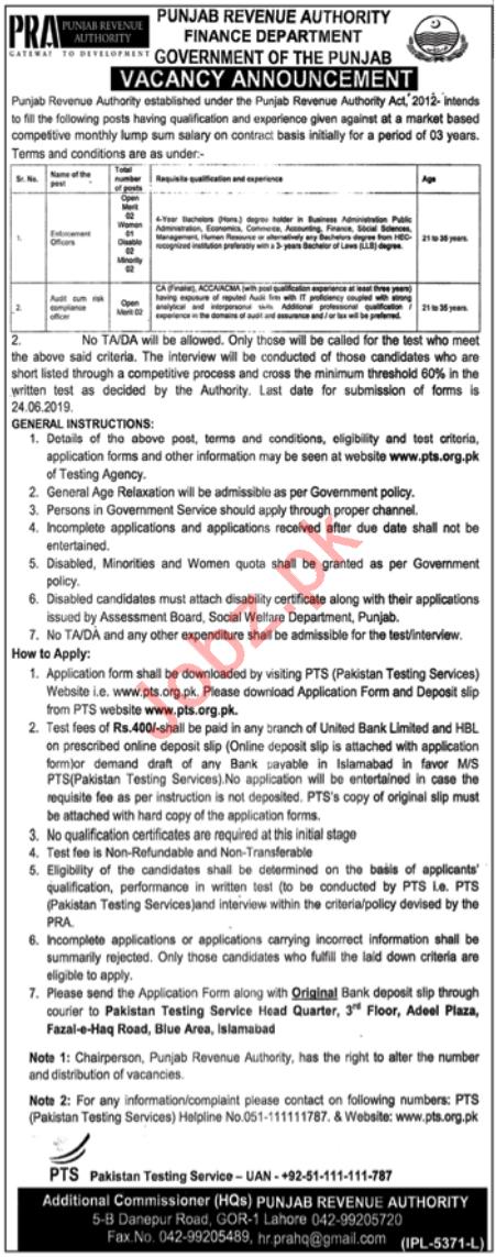 Punjab Revenue Authority Finance Department Jobs via PTS