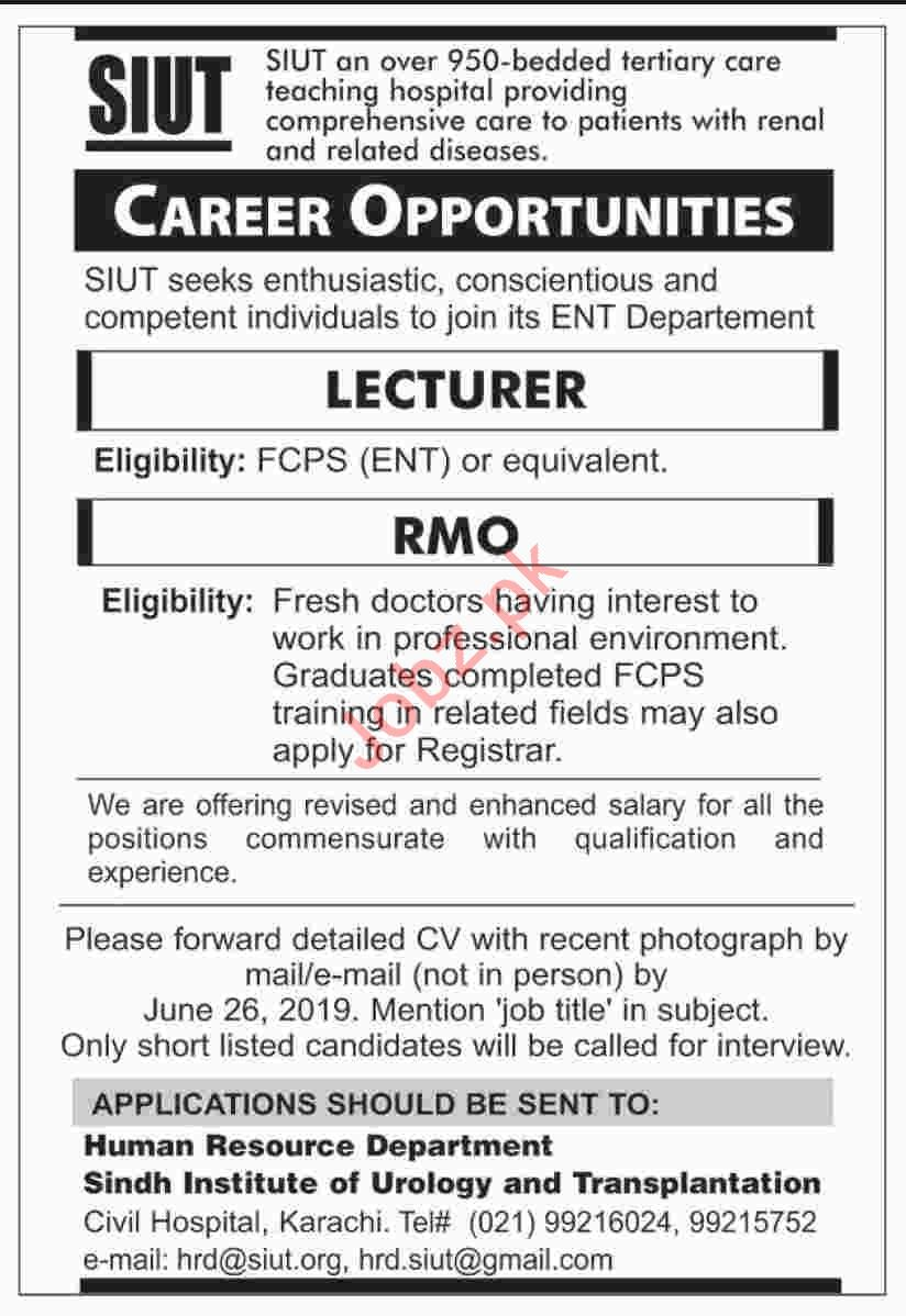 Sindh Institute of Urology and Transplantation SIUT Job 2019