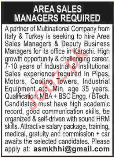 Area Sales Managers Jobs 2019 in Karachi