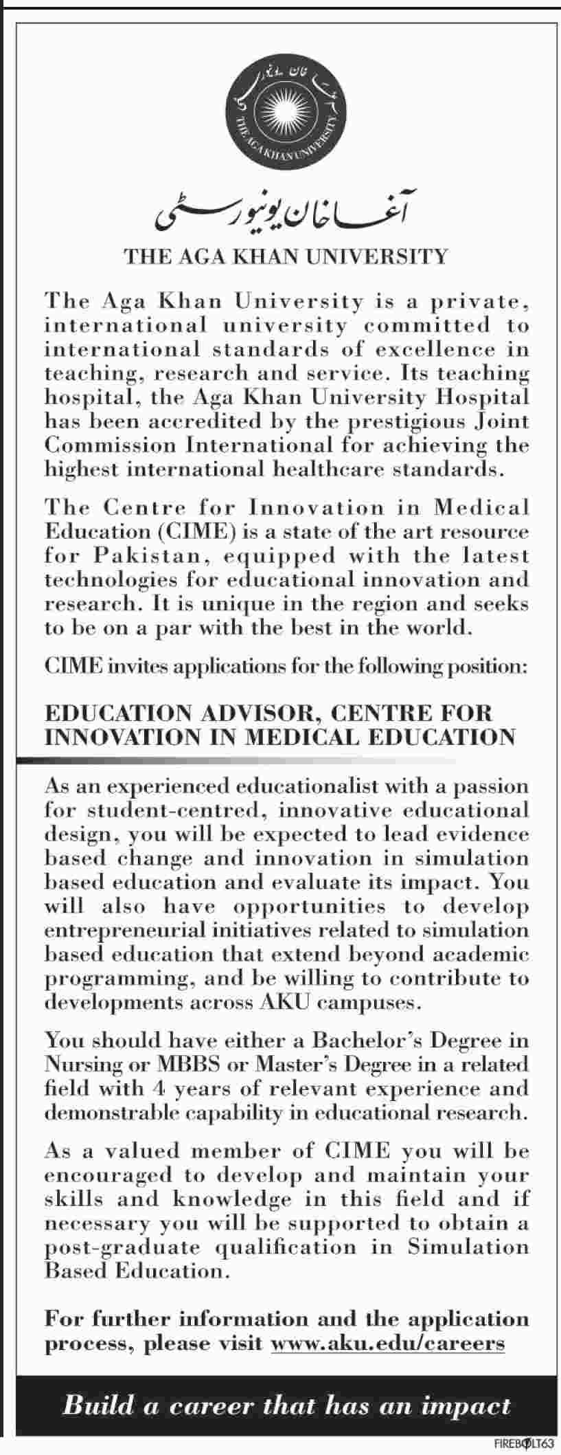 The Agha Khan University Education Advisor Jobs 2019