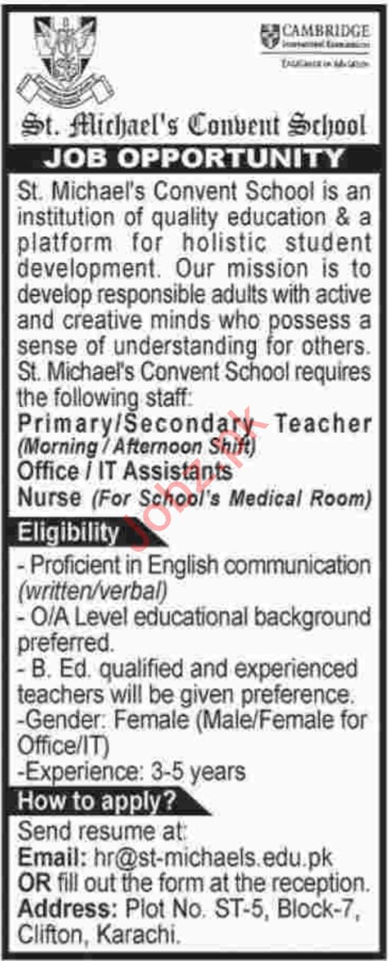 ST Michaels Convent School Jobs 2019 For Karachi