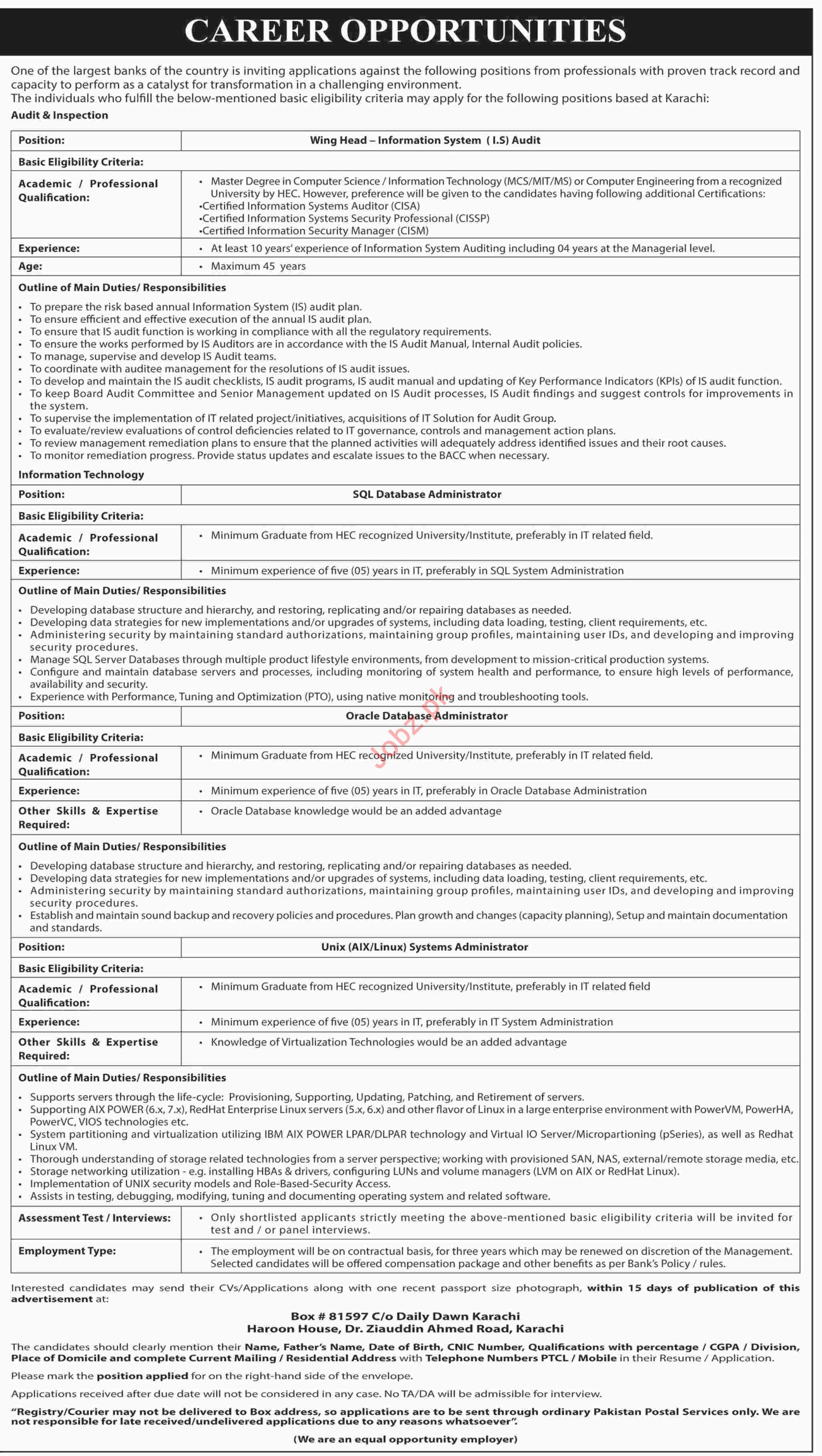 Commercial Banks Jobs 2019 in Karachi