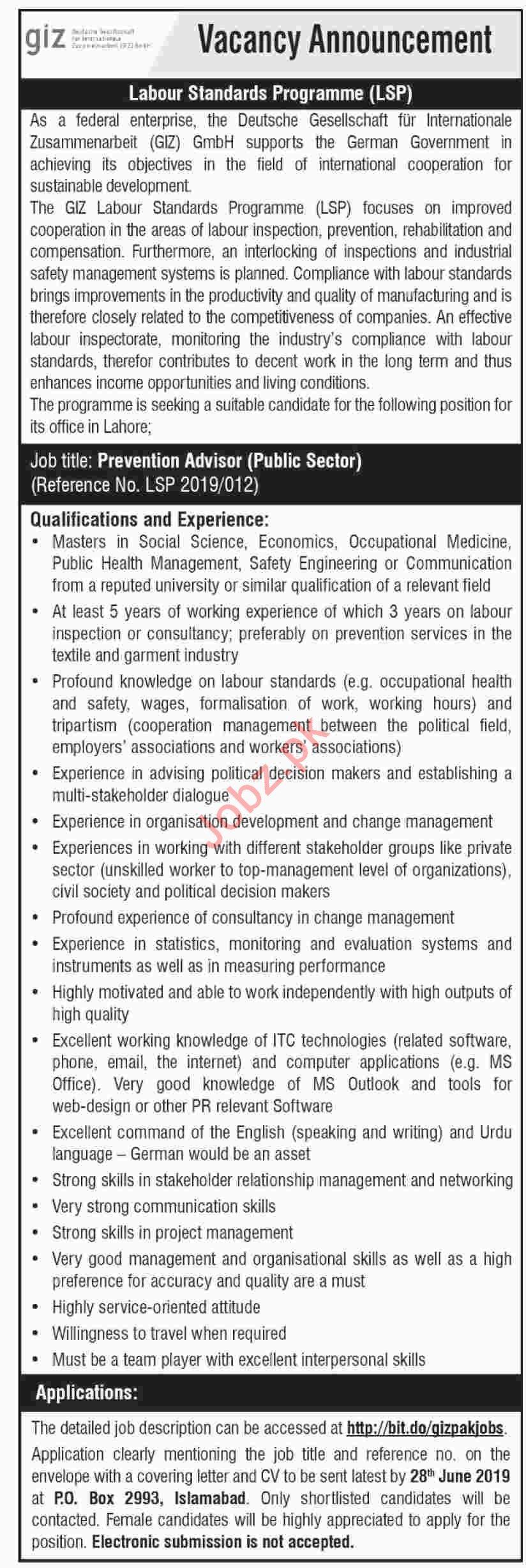 GIZ Pakistan NGO Labour Standards Programme LSP Job 2019